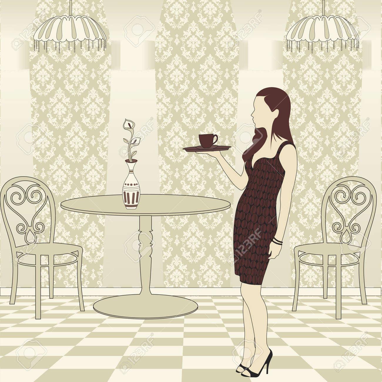 Girl Serving Coffee Stock Vector - 9865126