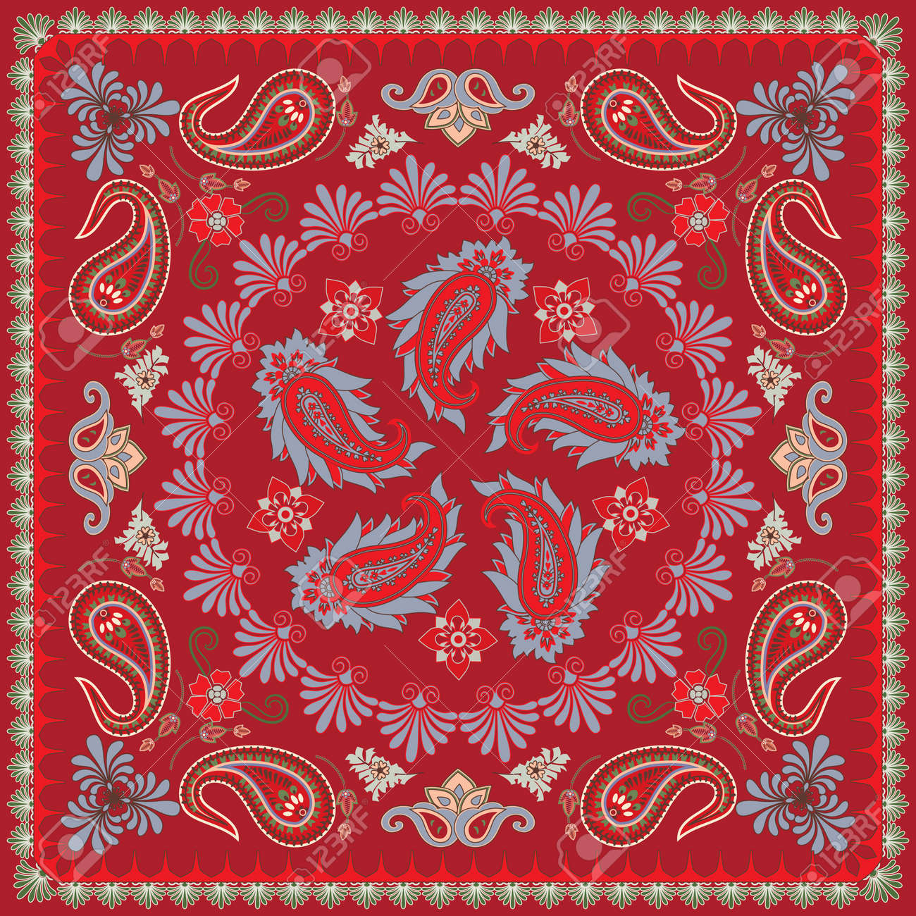 Traditional Paisley Bandana Design Stock Vector - 10223678