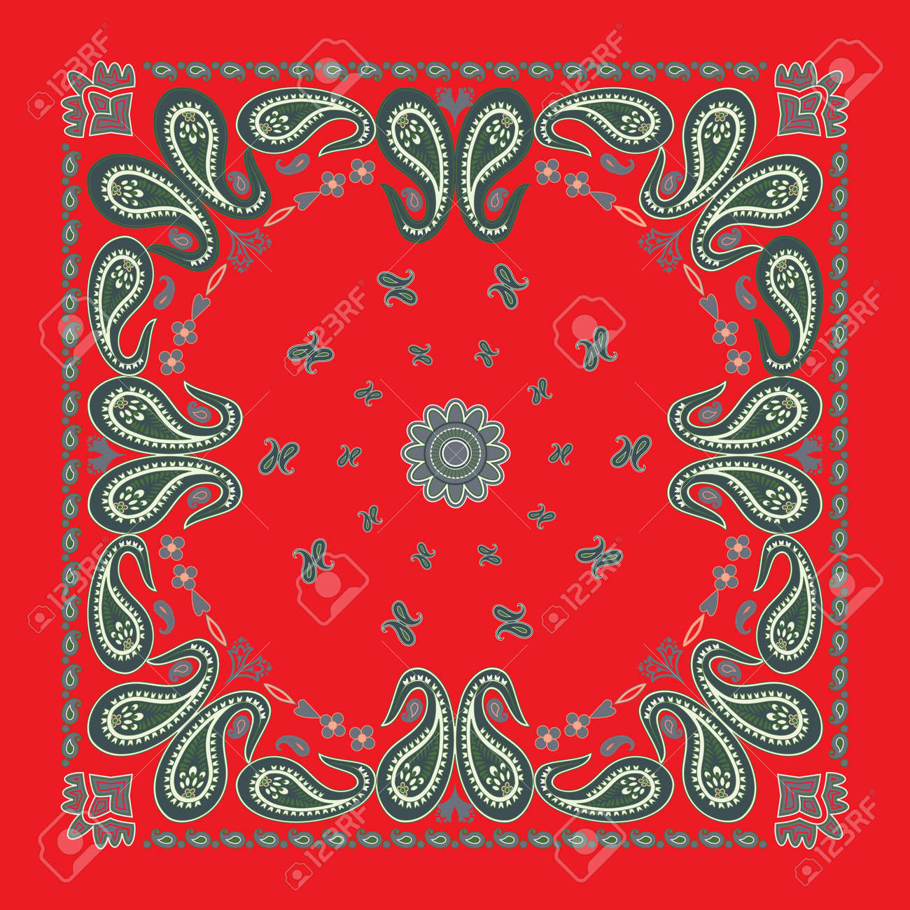 Classic Red Paisley Bandana Design Stock Vector - 10223674