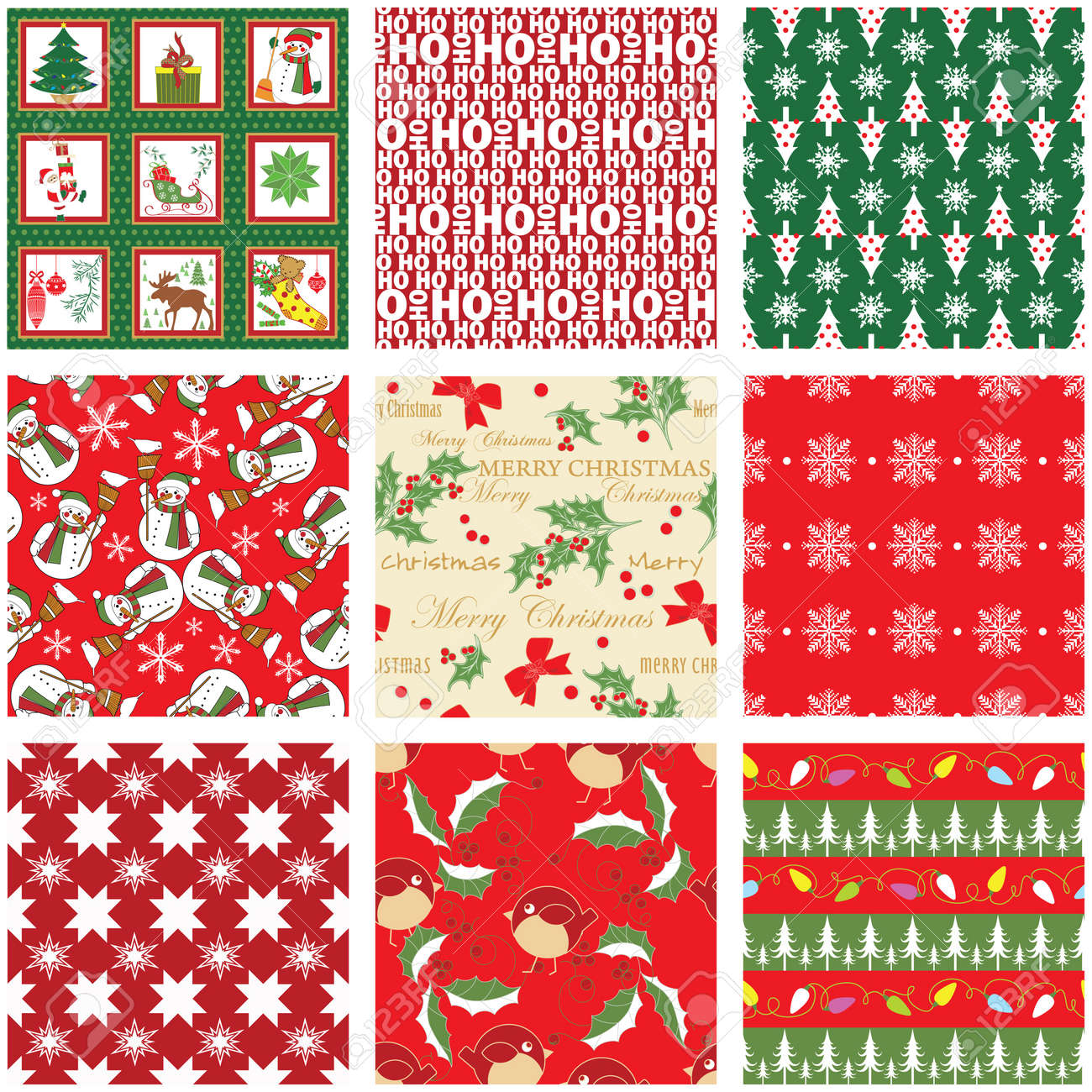 Collection of Seamless Xmas Patterns Stock Vector - 10531501