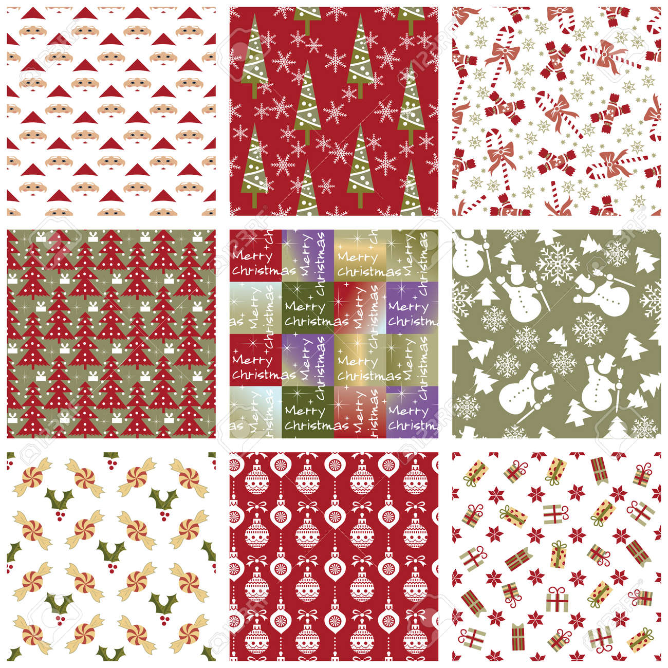 Collection of Christmas repeating swatches Stock Vector - 10569604