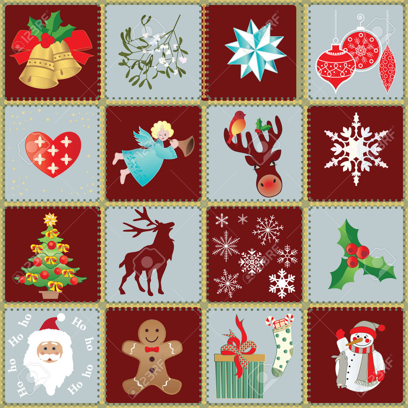 Seamless Xmas Wrapping Paper and Design Elements Stock Vector - 10663292
