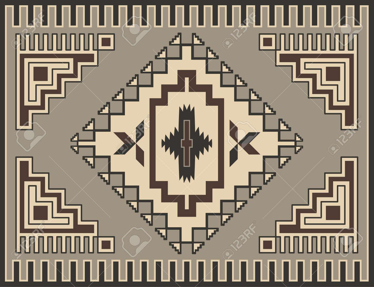 Traditional Geometric Retro Carpet Design Stock Vector - 10946074