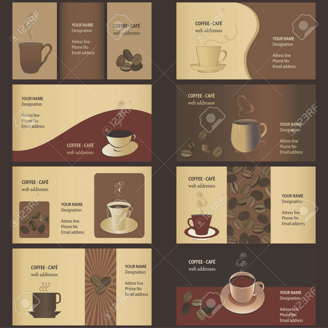 Coffee business card templates 8 set royalty free cliparts coffee business card templates 8 set stock vector 11663614 flashek Gallery