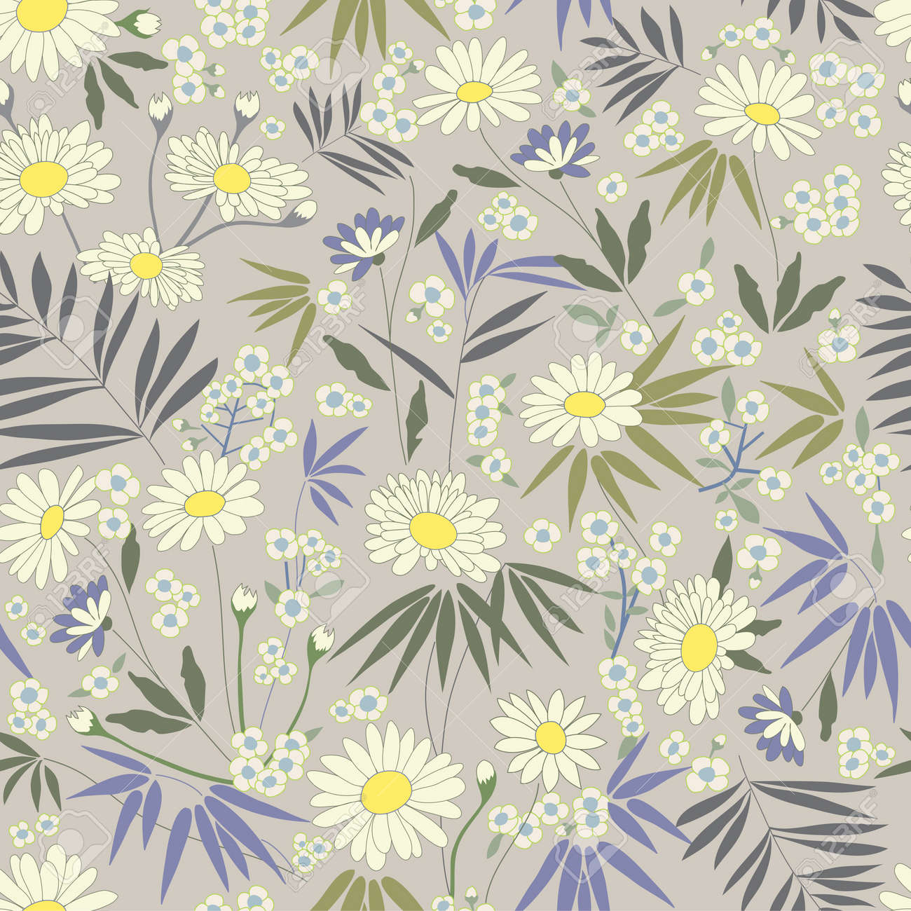 Daisy Themed Repeating Pattern Stock Vector - 11951545