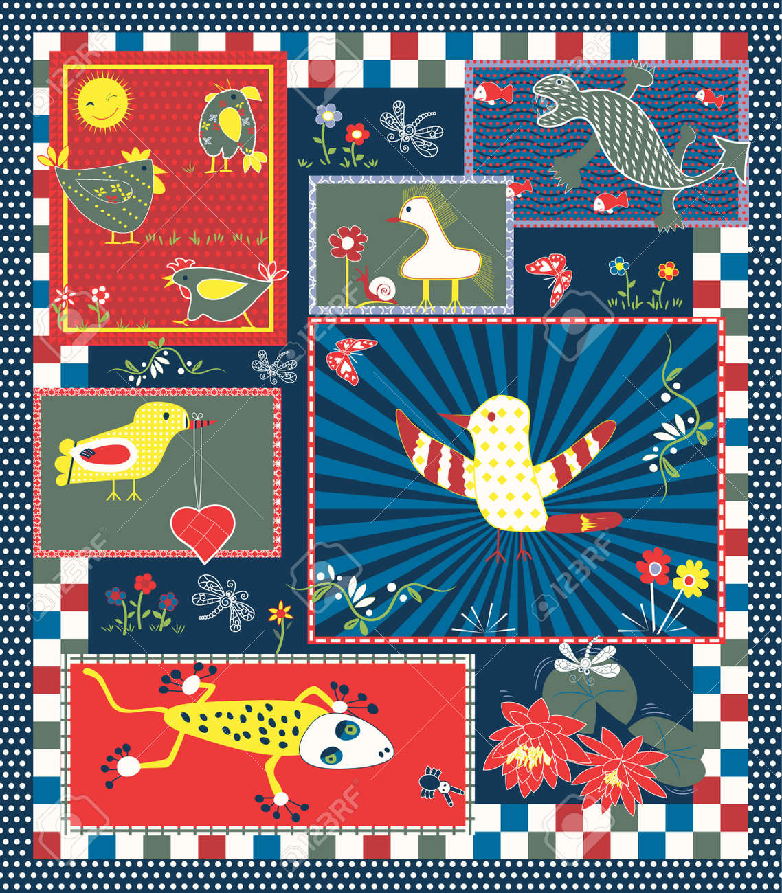 Quilt Pattern for Kids Stock Vector - 13656748