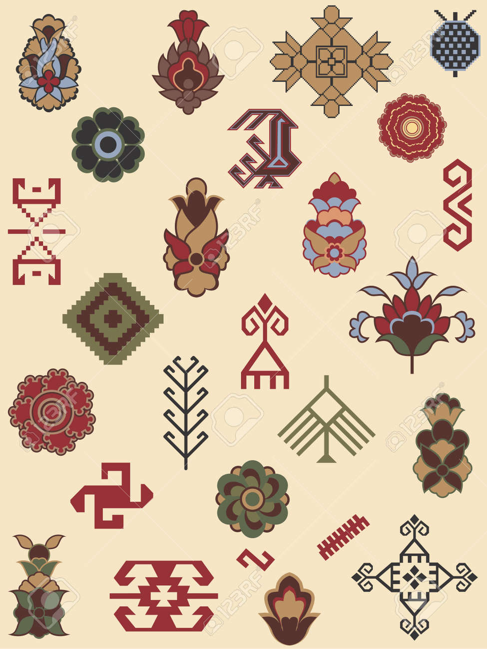 Collection of carpet patterns Stock Vector - 14177524