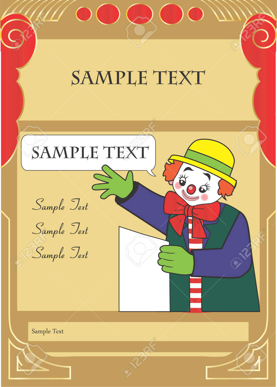 happy clown party invitation template for kids with sample text