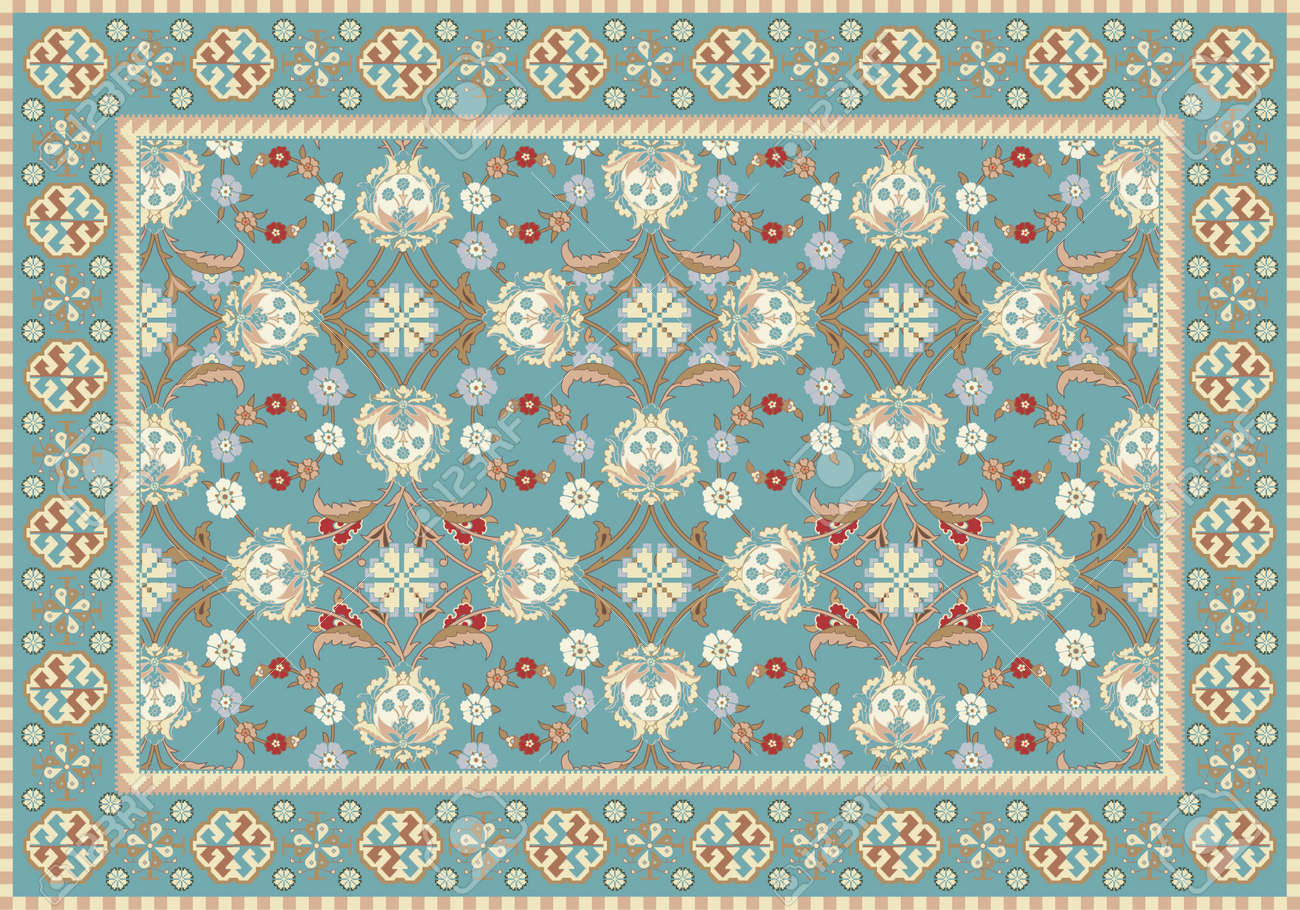 persian carpet pattern. blue oriental floral carpet design stock vector - 14988532 persian pattern