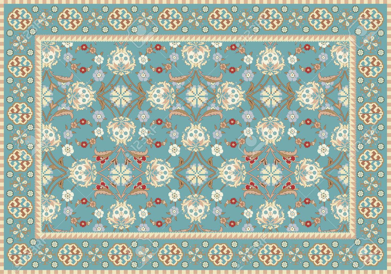 Blue Oriental Floral Carpet Design Stock Vector - 14988532