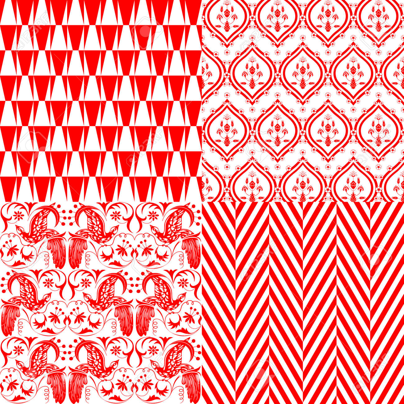 Red and white repeating patterns Stock Vector - 15298240