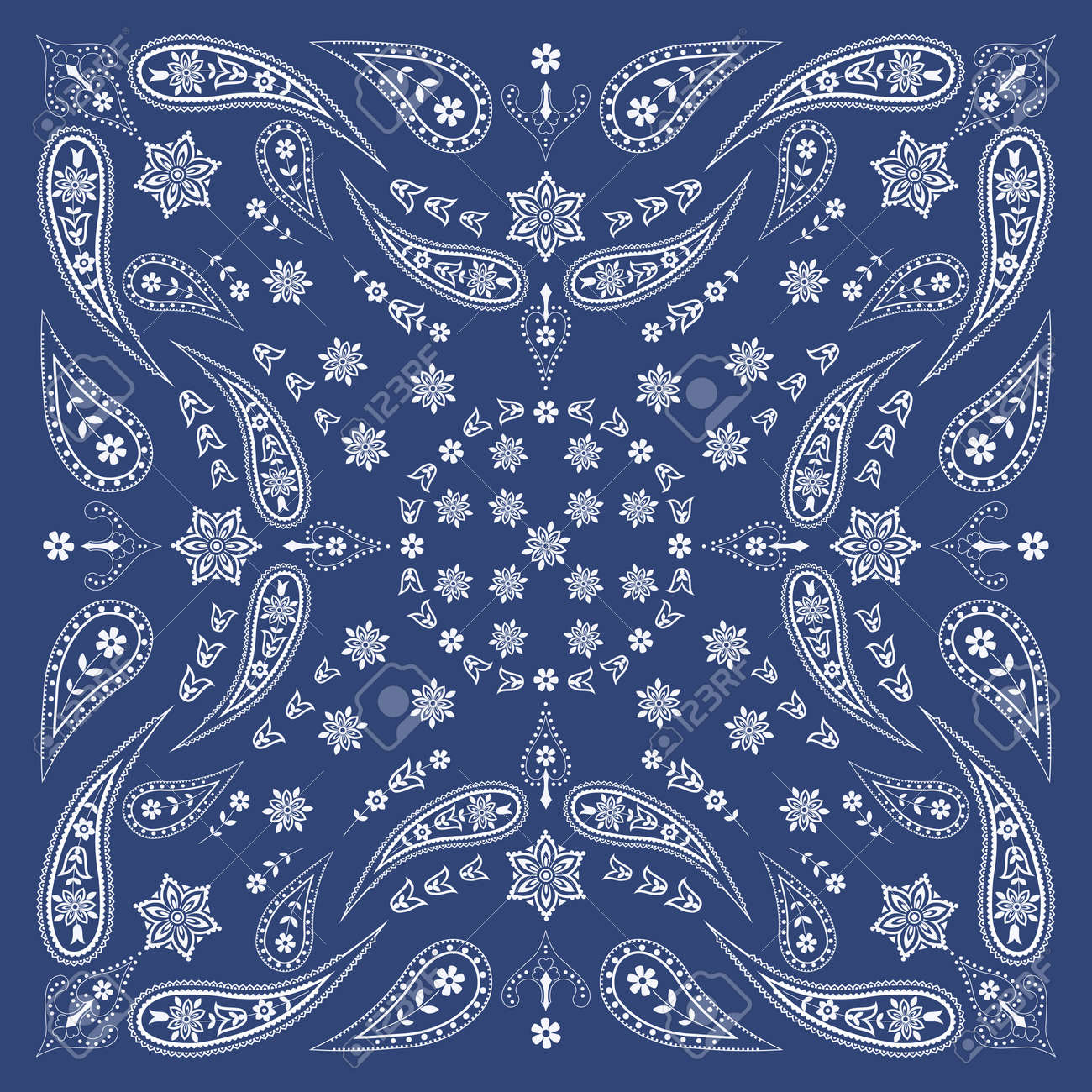 Bandana Scarf with Paisley and Floral Pattern Stock Vector - 24099907