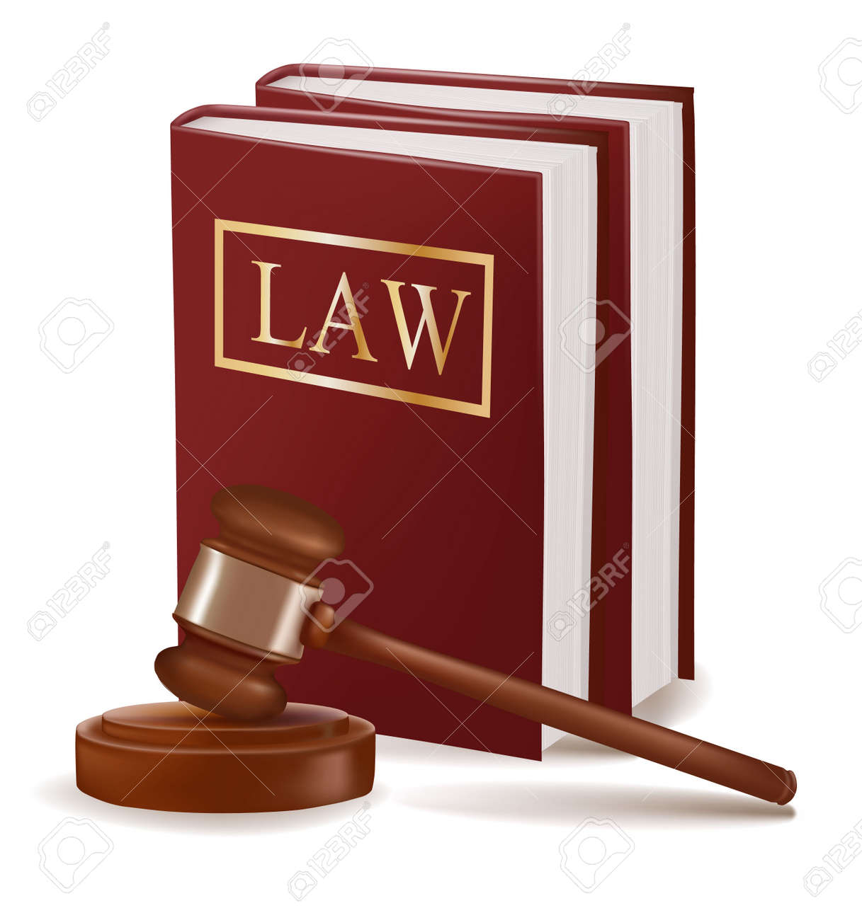 Judge gavel and law books. Photo-realistic - 9934345