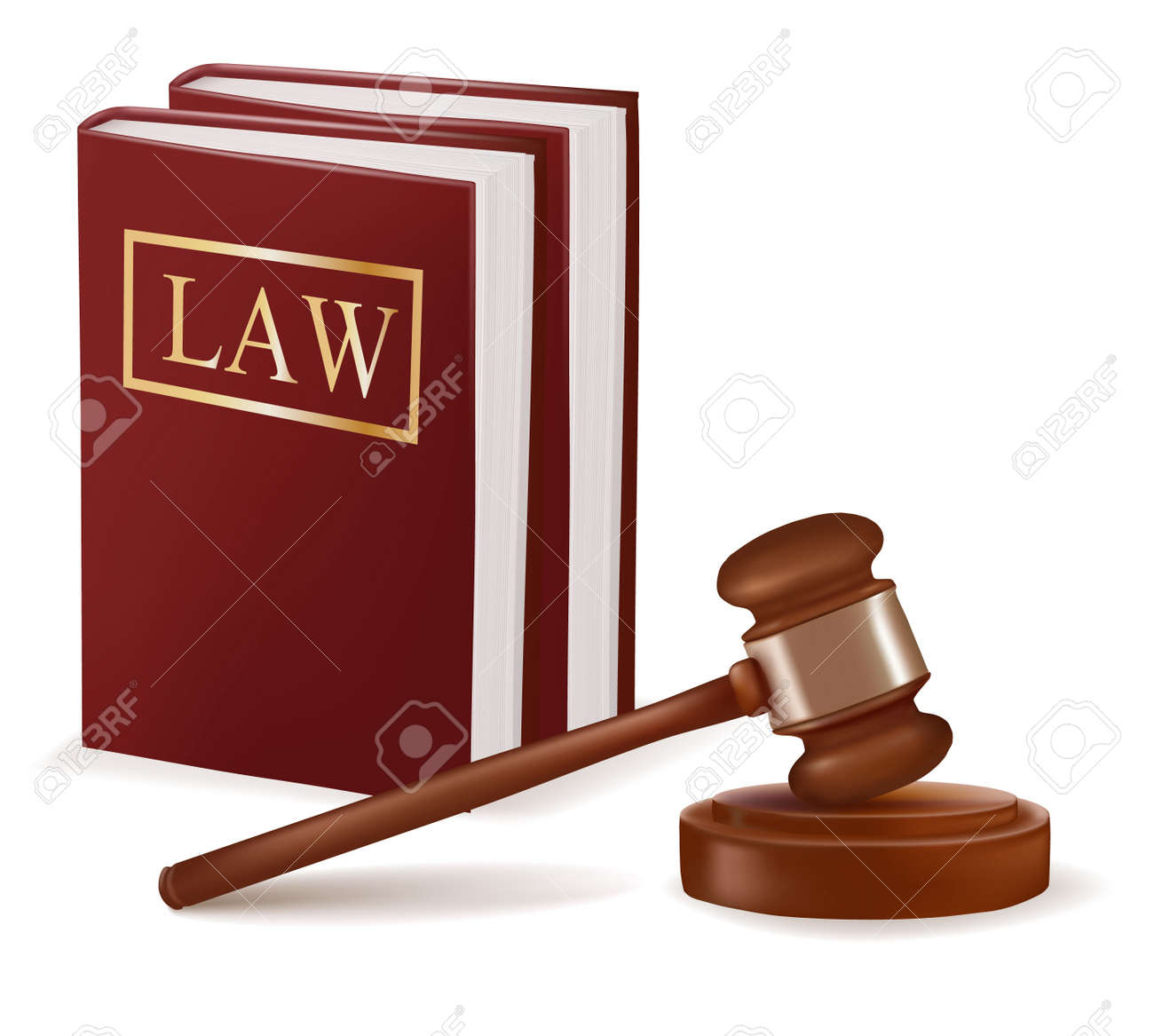 Judge gavel and law books. Photo-realistic Stock Vector - 9934346