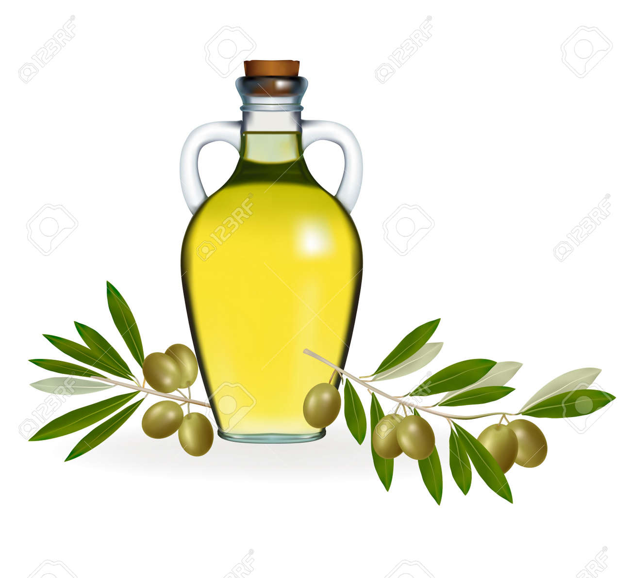 Vector illustration. Green olives with bottle of olive oil. Stock Vector - 9934470