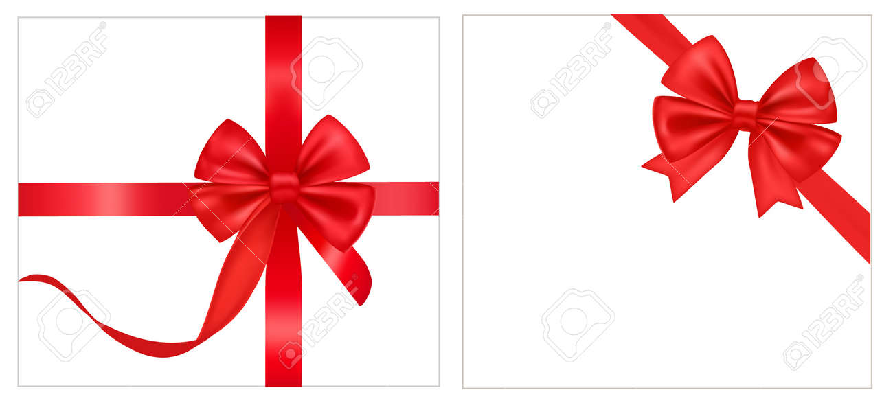 illustration. Collection of holiday bows with ribbons. Stock Vector - 9934353