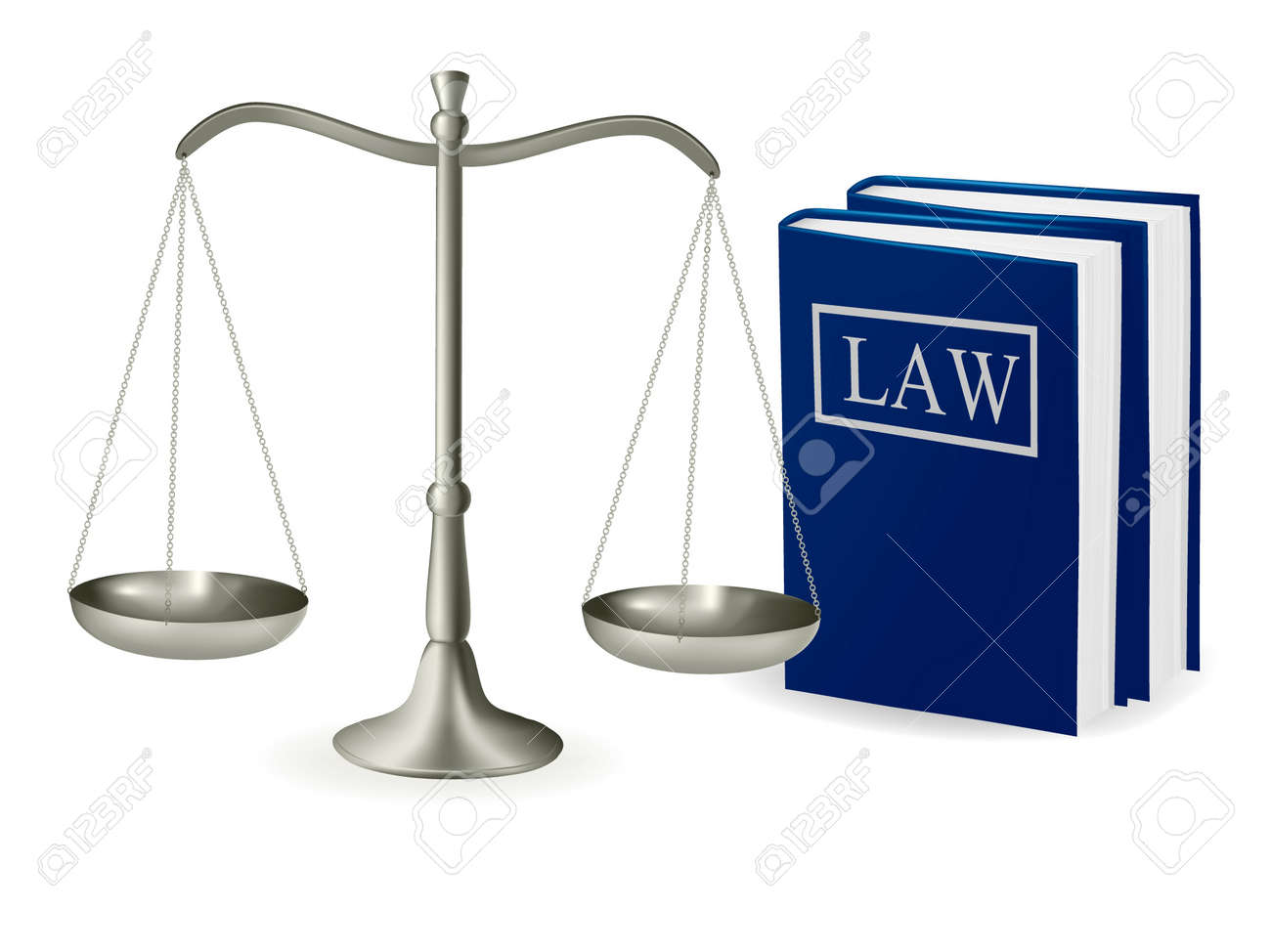 Brass scales of justice and law books . Vector illustration. - 10017299