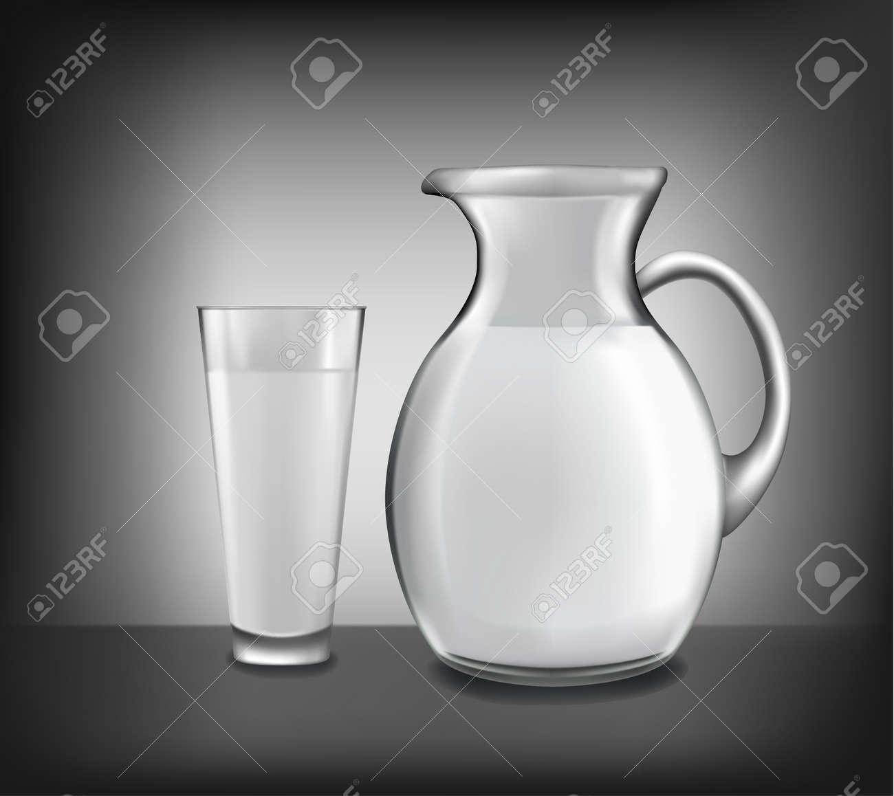 Milk jug and glass of milk. Vector. Stock Vector - 10017294