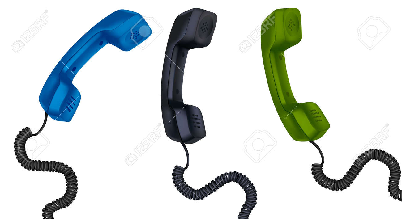 Three telephone receivers with cables. vector illustration. Stock Vector - 10017313