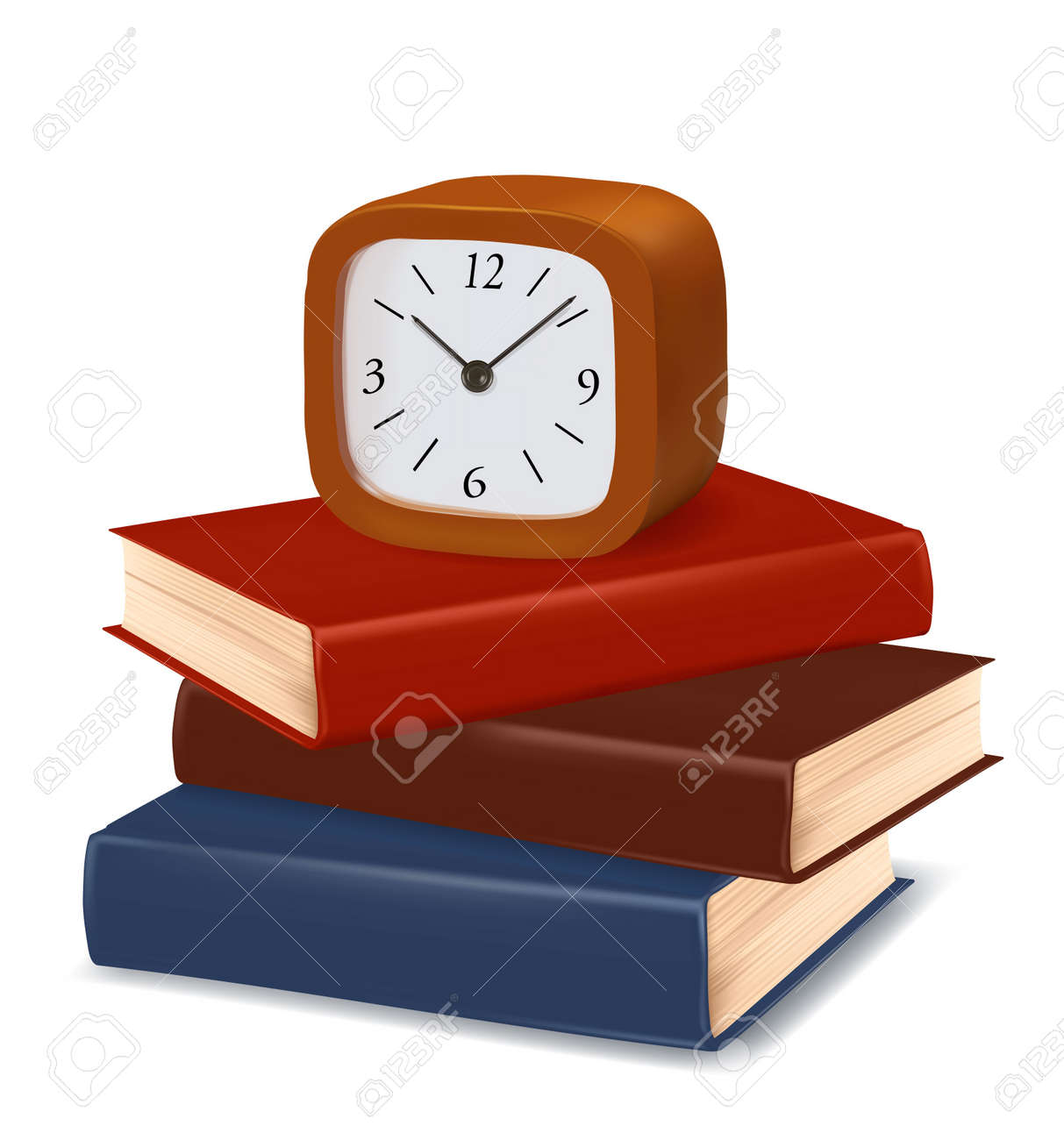 Stack of colorful books and clock on white background. Vector. Stock Vector - 10105298