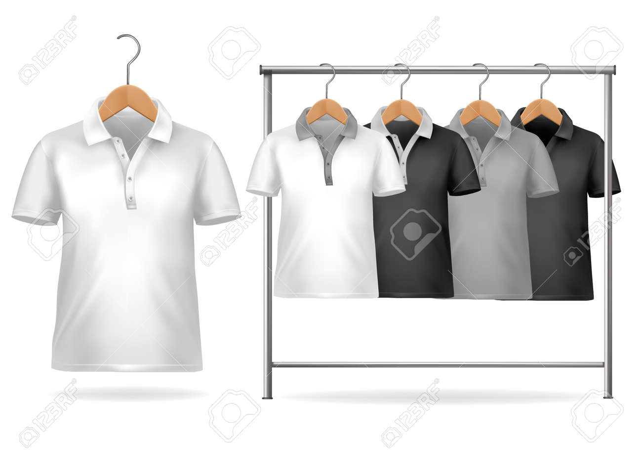 Shirt design illustrator template - Black And White T Shirt Design Template Clothes Hanger With Shirts Vector Illustration