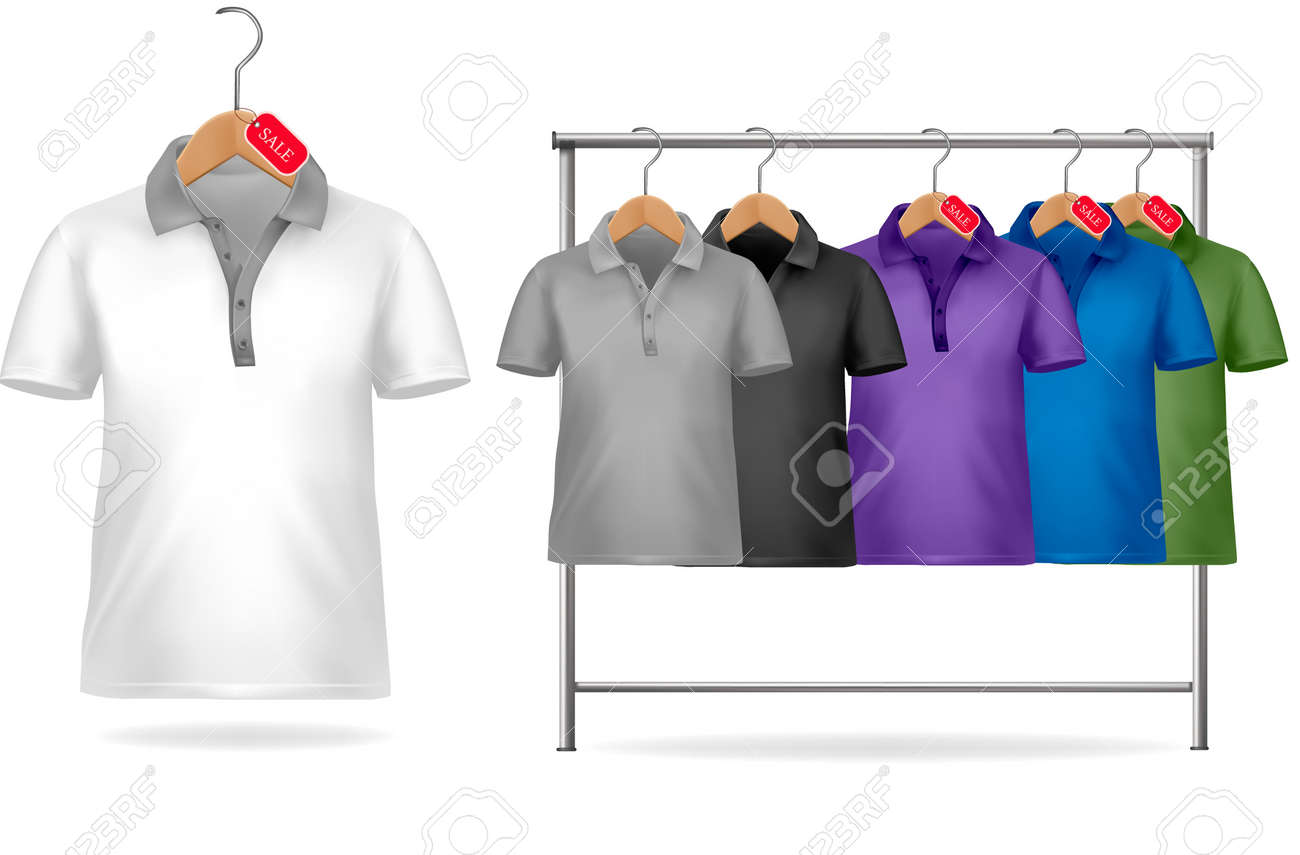 Shirt design price - Black And White T Shirt Design Template Clothes Hanger With Shirts With Price Tags