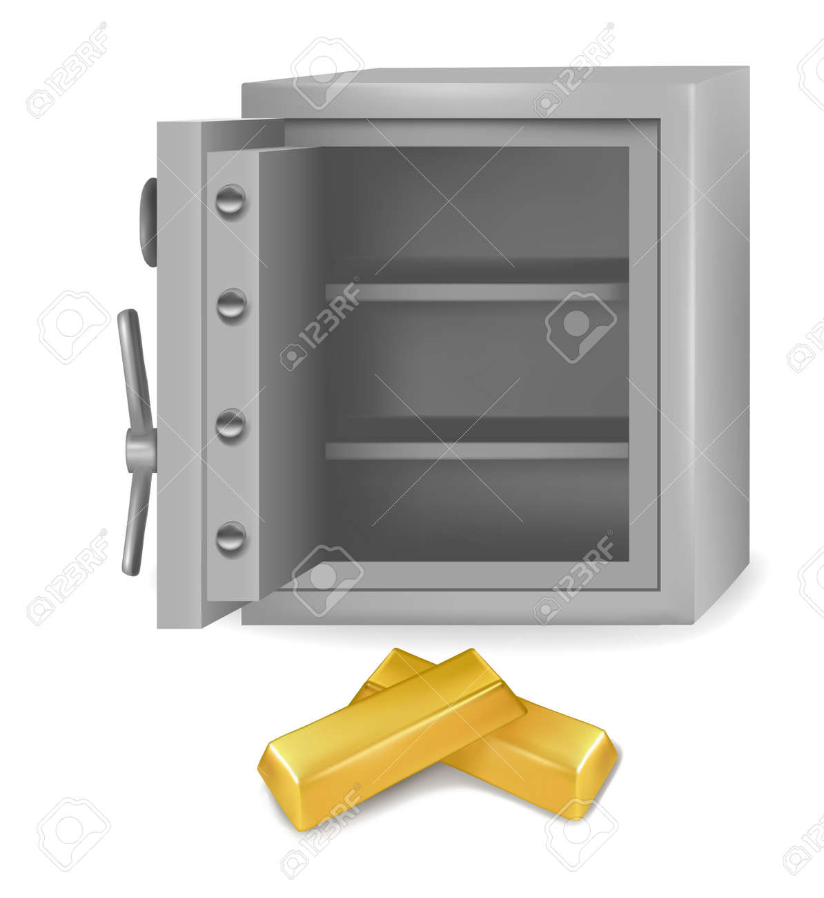 Steel safe with gold bars. Vector illustartion Stock Vector - 10205198