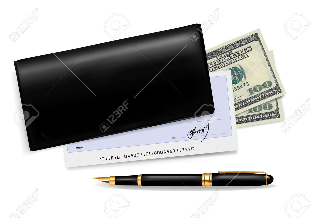 Black checkbook with check, pen and dollars. Vector illustration. Stock Vector - 10300663