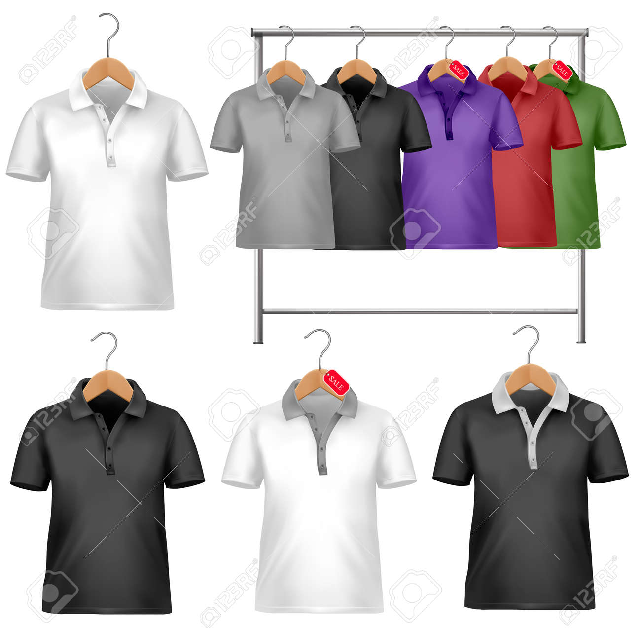 Design t shirt price - Black And White T Shirt Design Template Clothes Hanger With Shirts With Price Tags