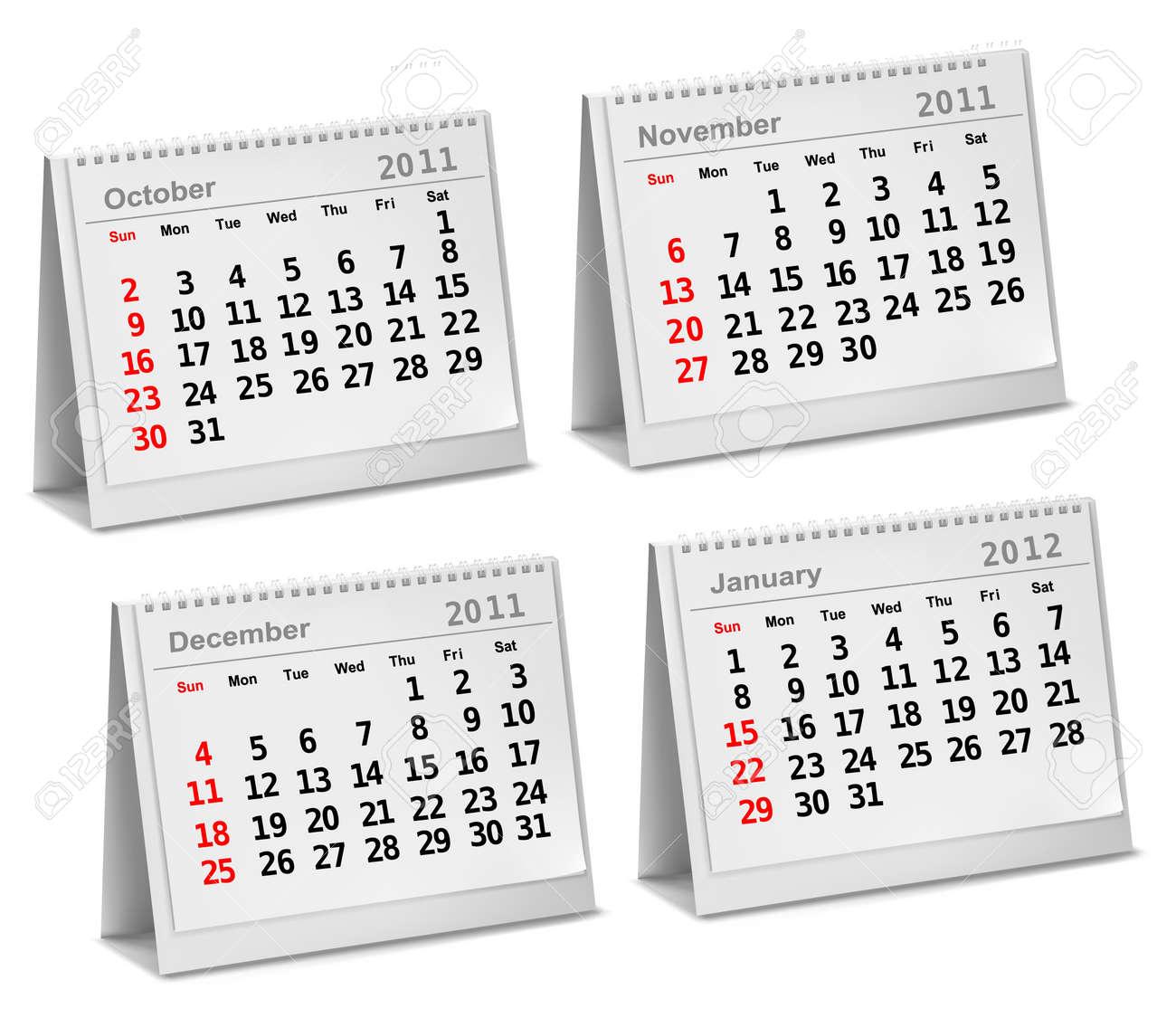 Desktop calendar 2011 - October, November, December, 2012 - January. Stock Vector - 11028002