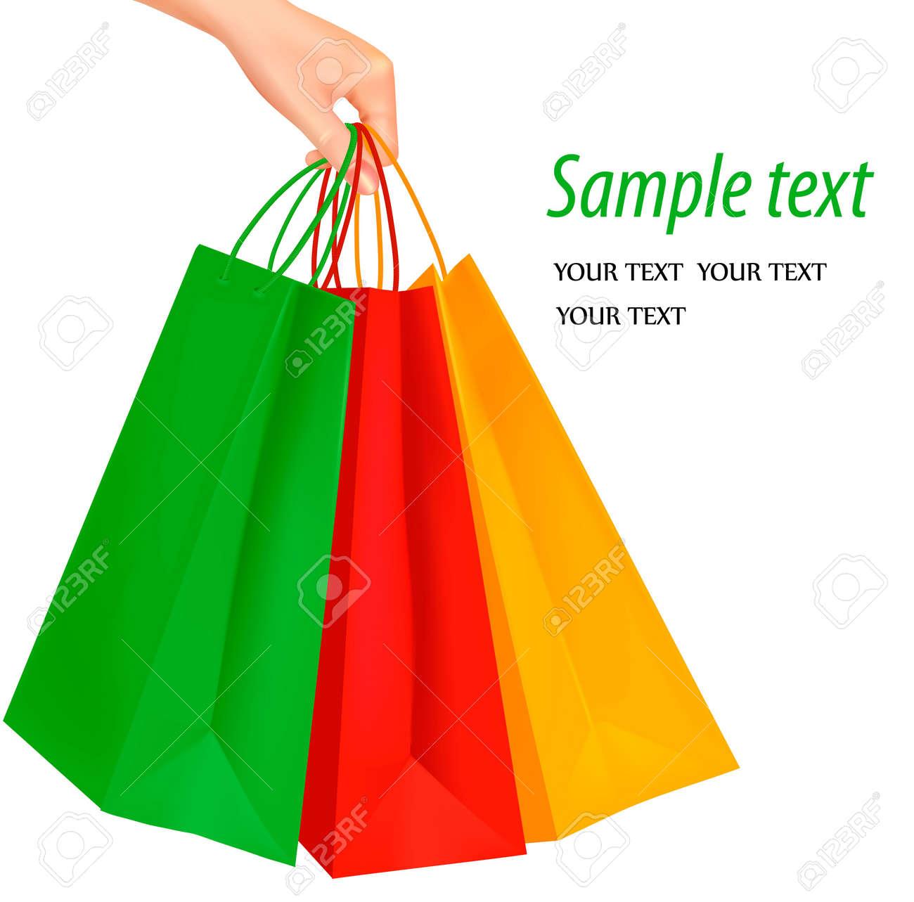 b1f1647e85 Foto de archivo - Mujer mano con un montón de bolsas de la compra