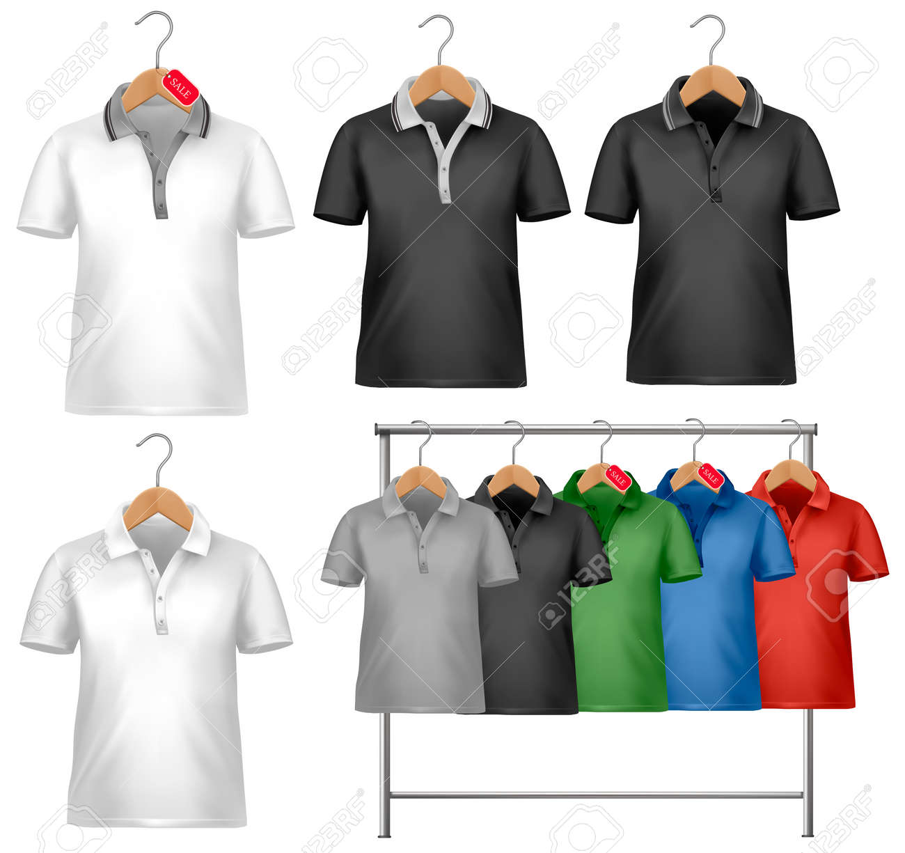 Shirt design illustrator template - Vector White And Colorful T Shirt Design Template Clothes Hanger With Shirts With Price Tags Vector Illustration