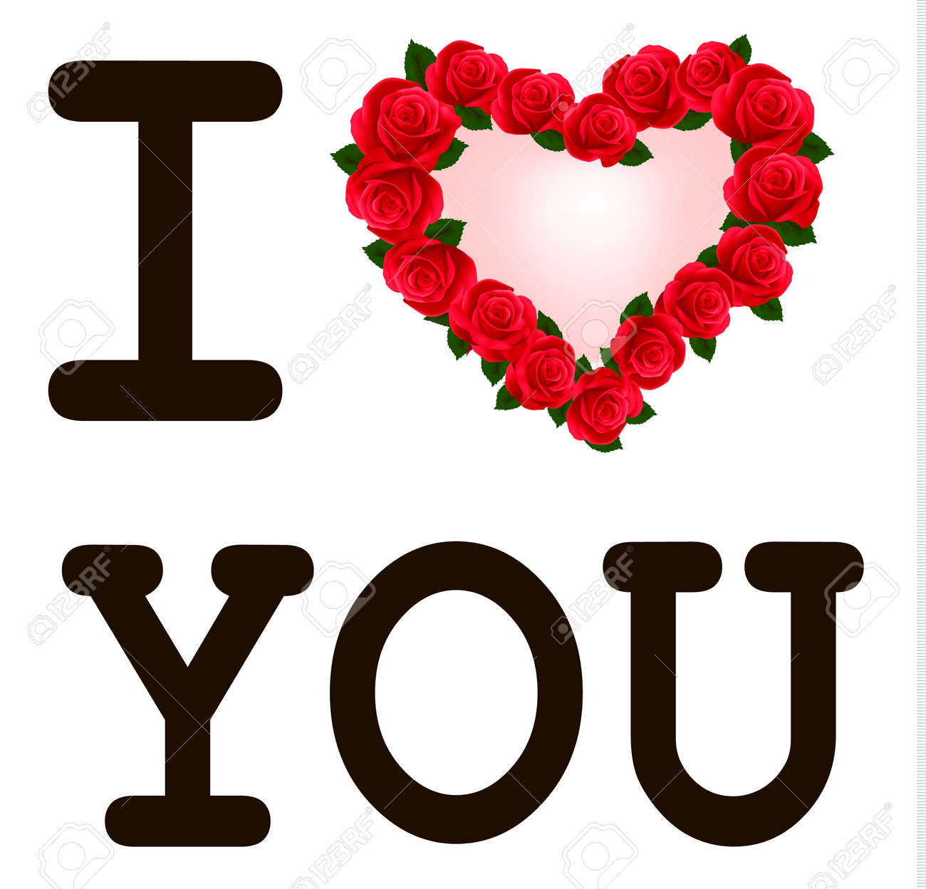 heart with roses i love you template valentine royalty free