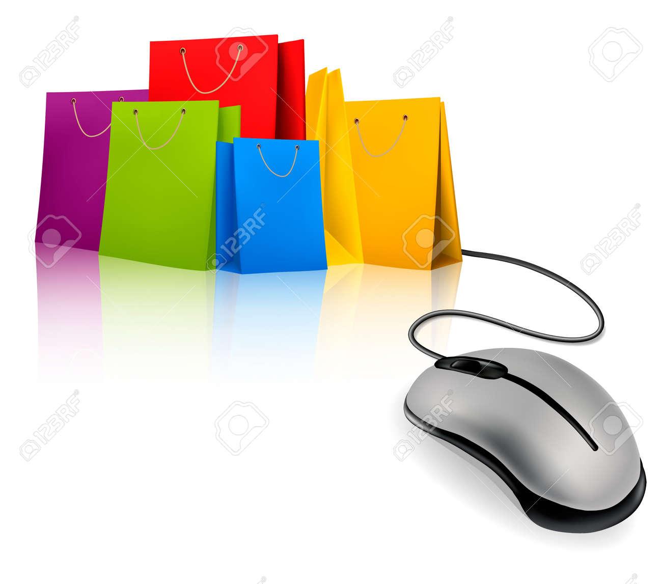 Shopping Bags And Computer Mouse. Concept Of E-shopping. Vector ...