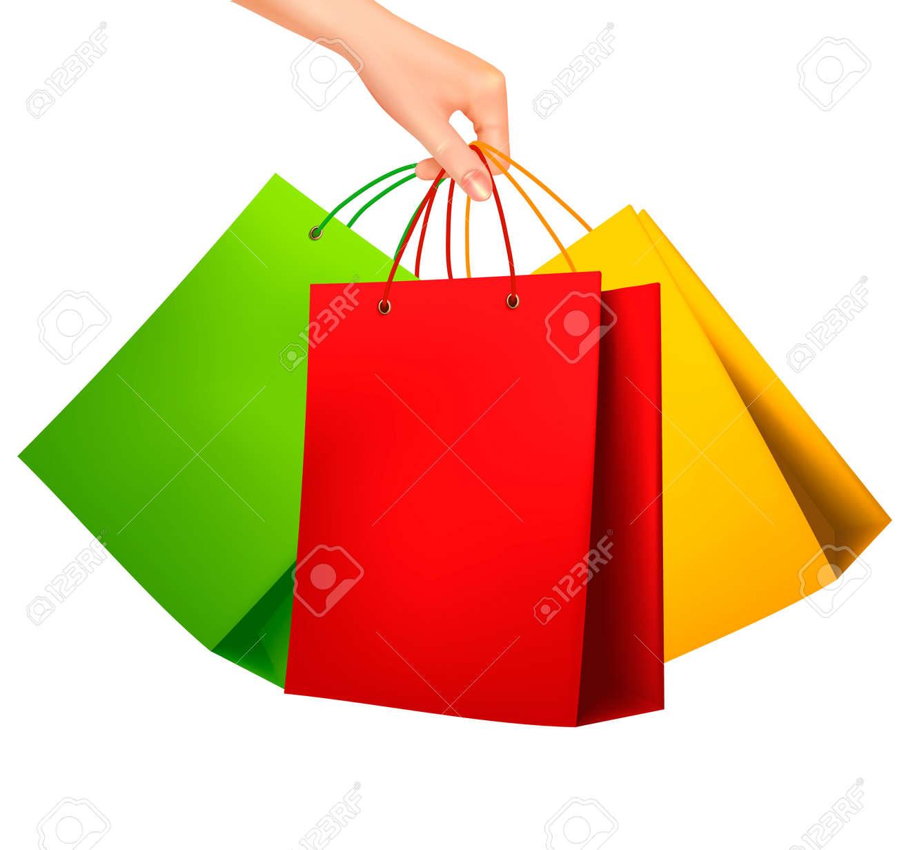 female hand holding colorful shopping bags vector illustration rh 123rf com shopping bag vector design shopping bag vector template