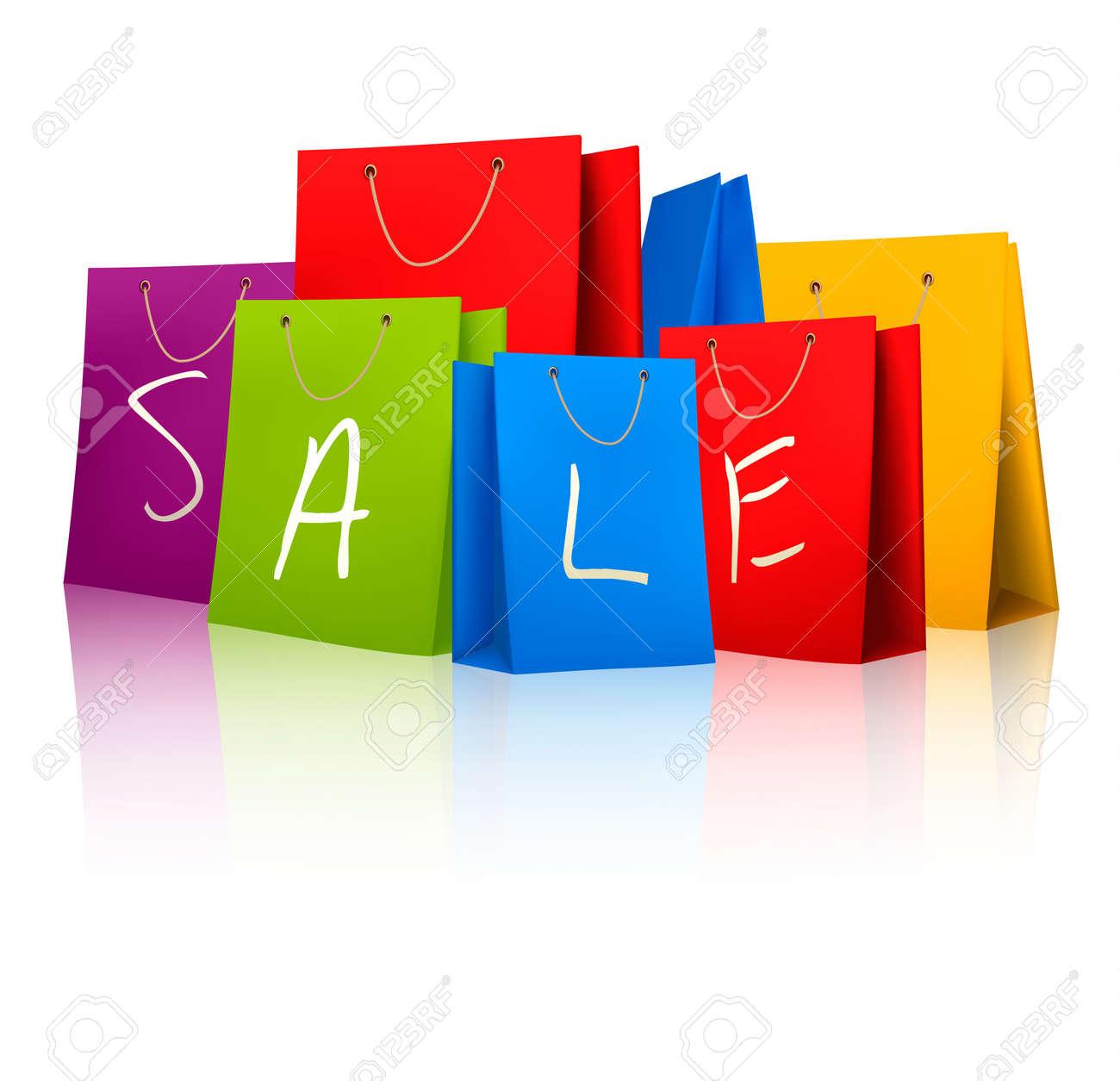 bc95be5388 Foto de archivo - Venta de bolsas de compras. Concepto de descuento.  Ilustración vectorial