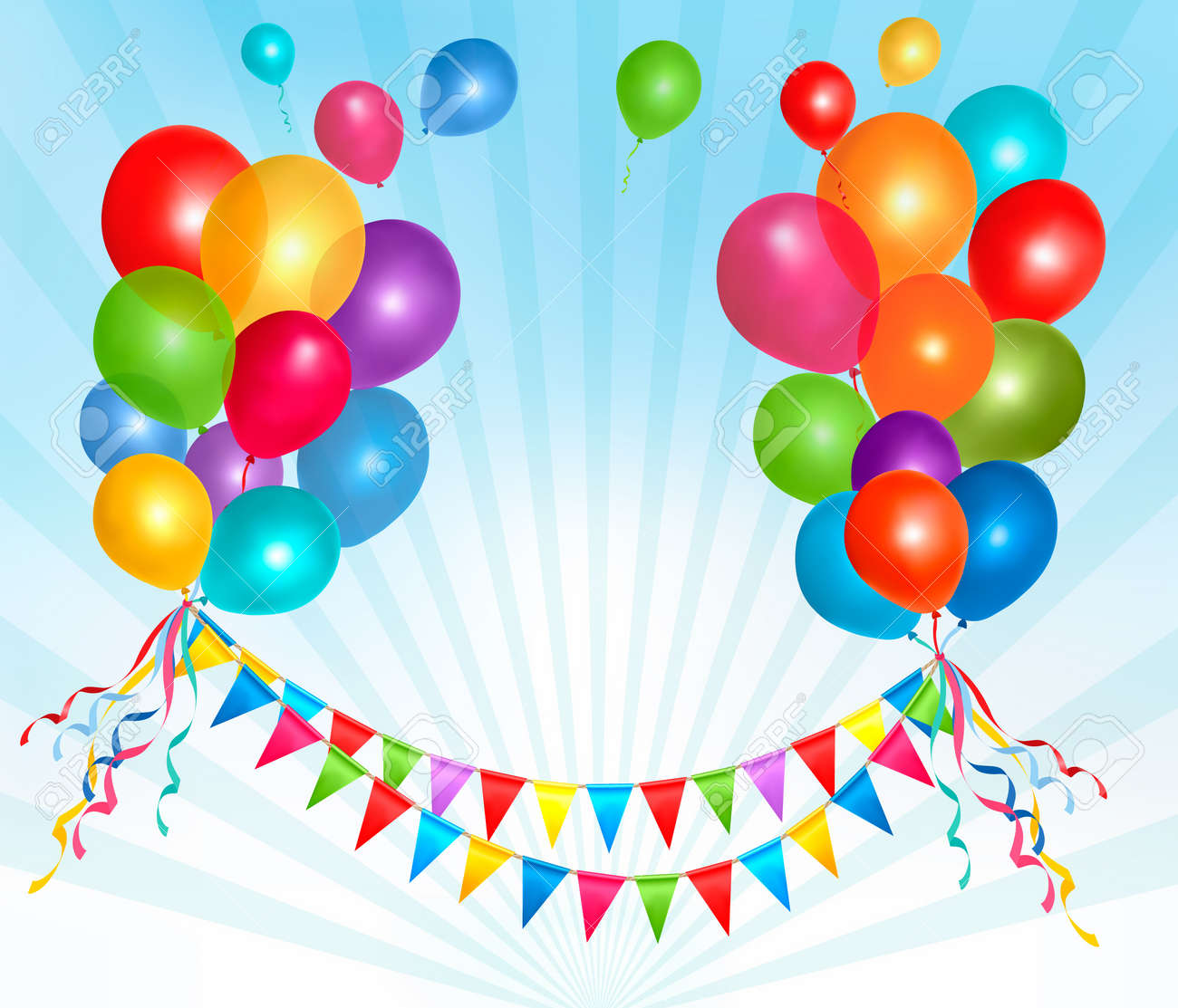 Birthday balloons frame composition with space for your text. Vector illustration. Stock Vector - 13749483