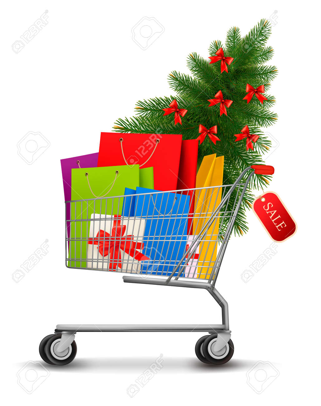 Background with shopping color bags and shopping cart with sale  Concept of discount  illustration Stock Vector - 16818693