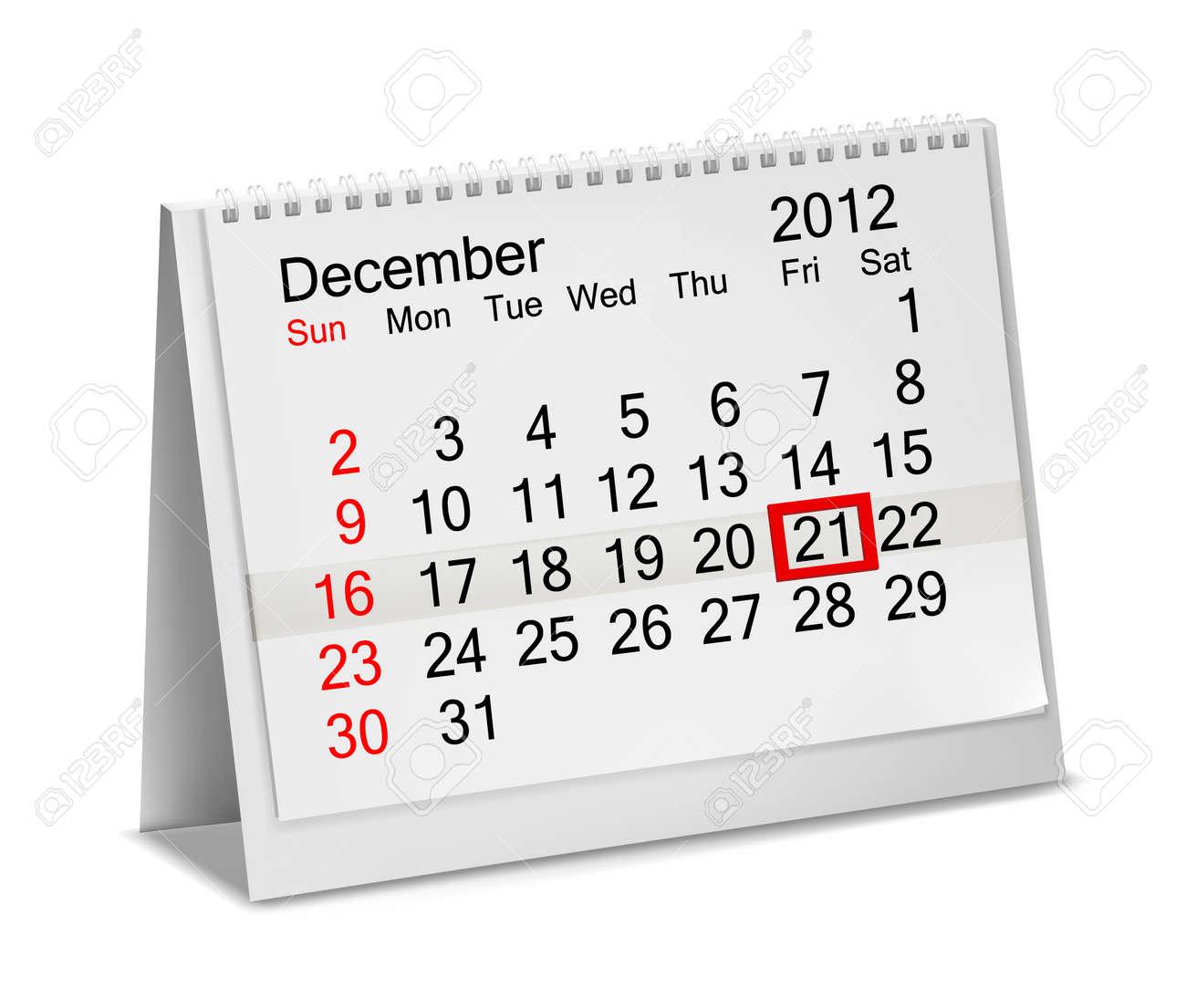 Desktop calendar  2012- December. Vector illustration. Stock Vector - 17204385