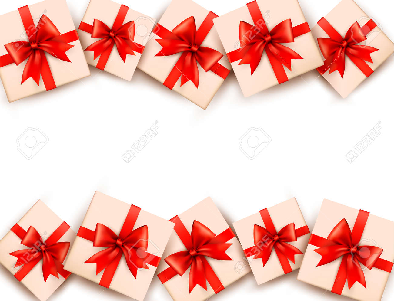 Holiday background with gift boxes and red bows. Stock Vector - 17473550