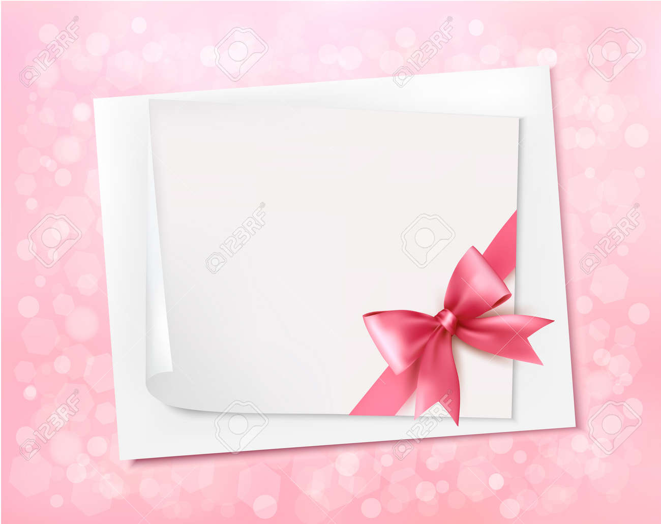 Holiday background with gift pink bow and ribbon. Stock Vector - 17473559