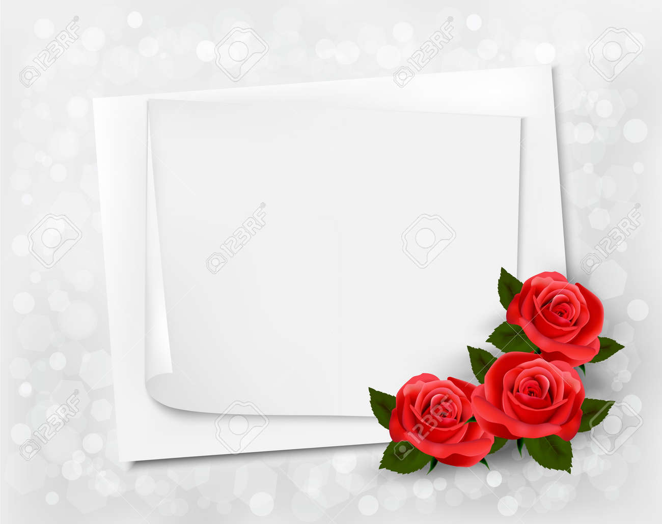 Holiday background with sheet of paper and red flowers. Valentines background. Stock Vector - 17473562