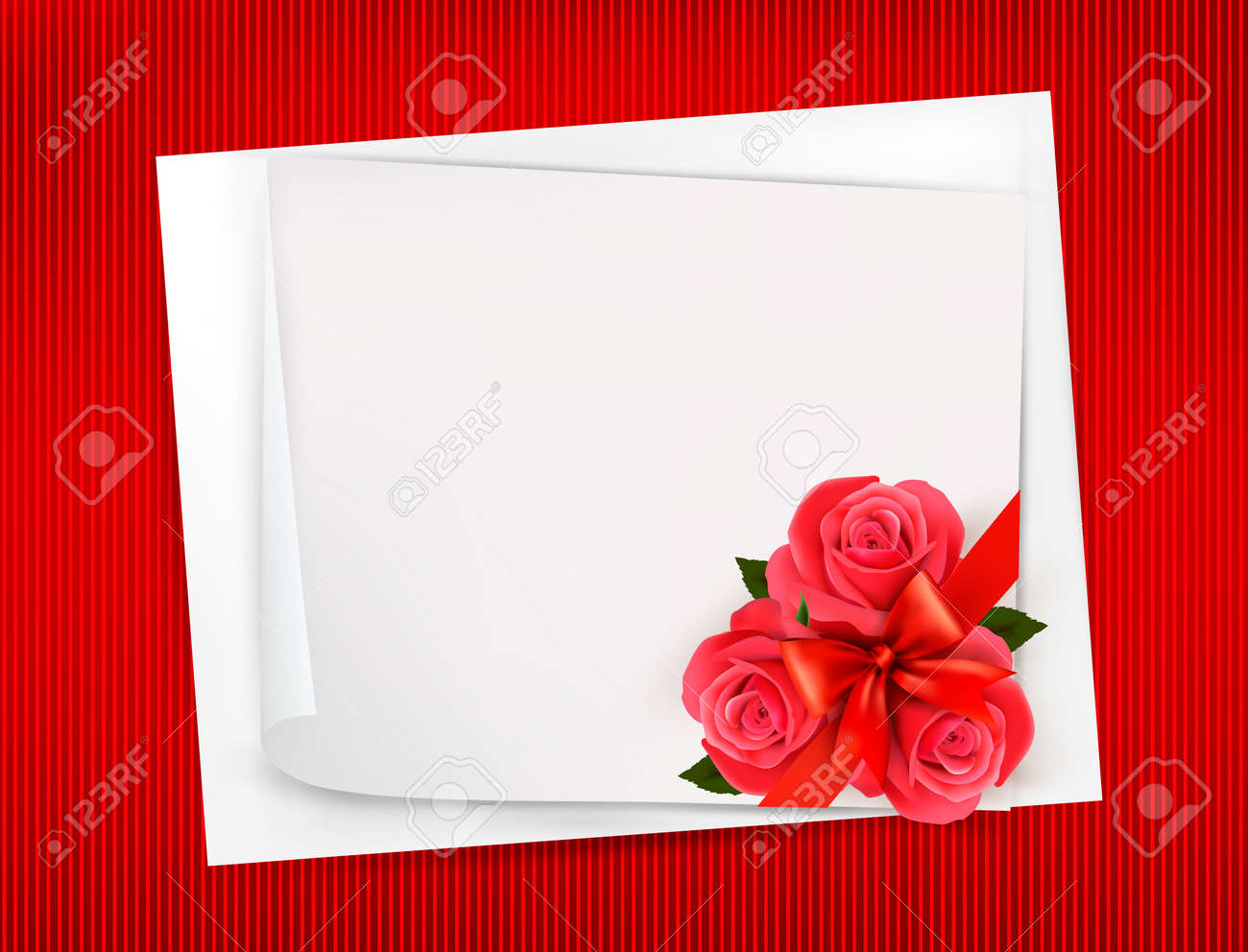 Holiday background with sheet of paper and red flowers  Valentines background  Vector Stock Vector - 17757900
