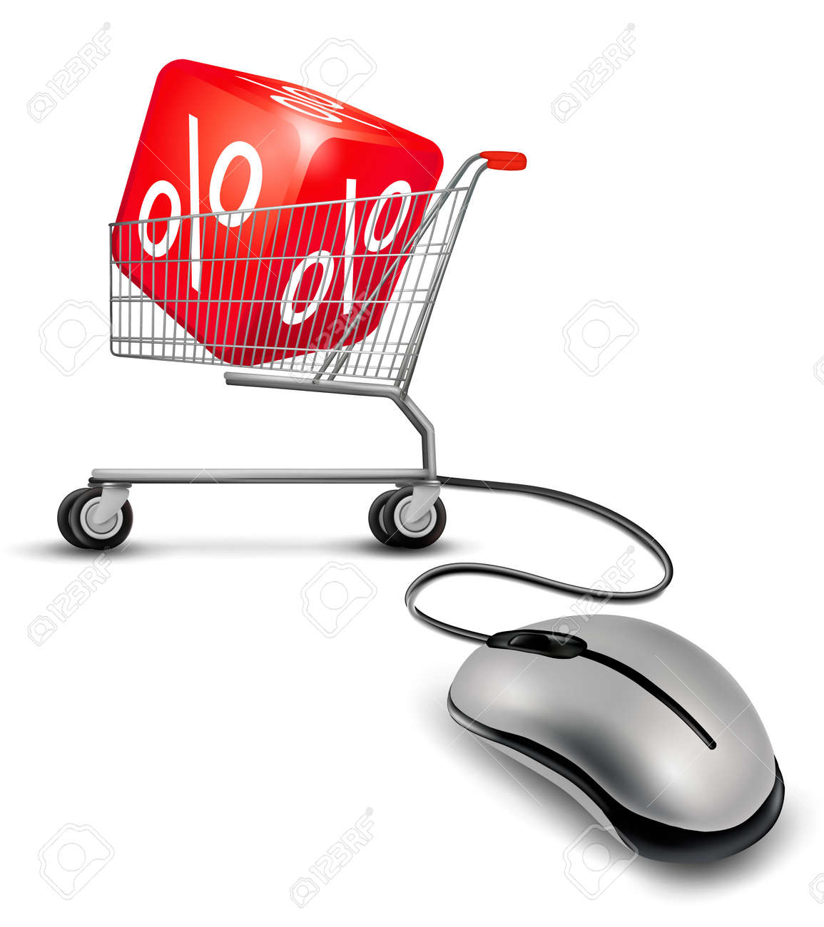 Computer mouse and a shopping cart with cube in it. concept of discount. Vector. Stock Vector - 17758129