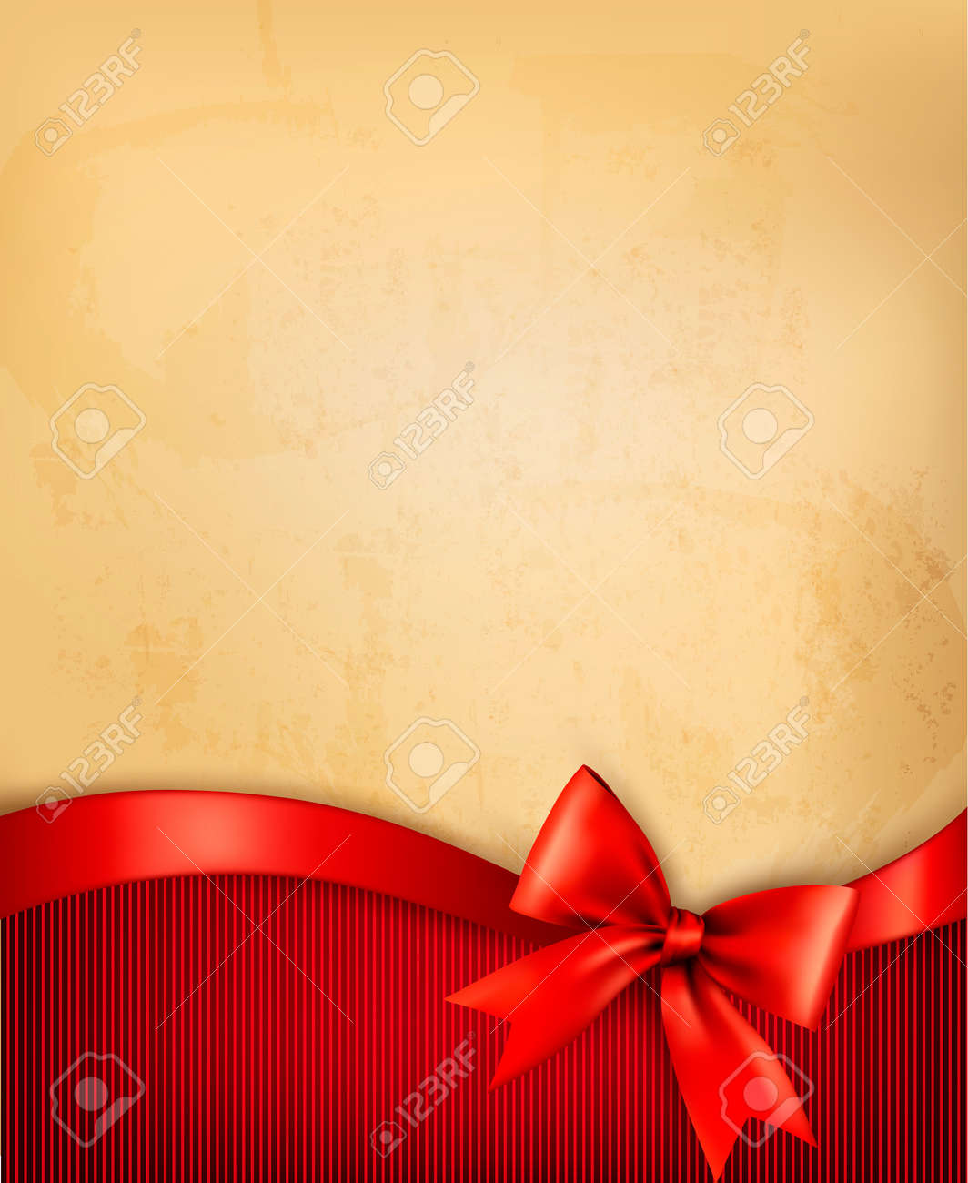 Vintage background with red gift bow and ribbon on old paper. Vector illustration. Stock Vector - 18139368