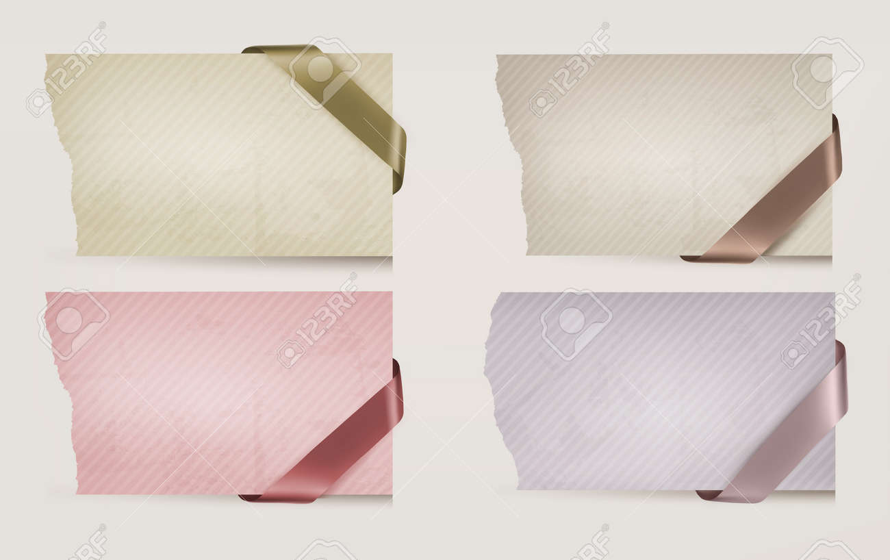Collection of old paper banners with ribbons. Vector illustration. Stock Vector - 18413828