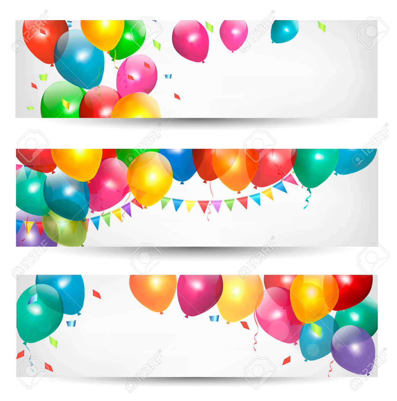 Holiday banners with colorful balloons. Vector. Stock Vector - 18413836