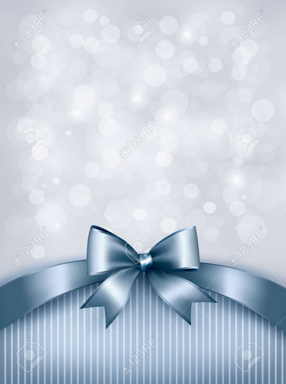 Holiday blue background with gift glossy bow and ribbon. Vector Stock Vector - 19551827