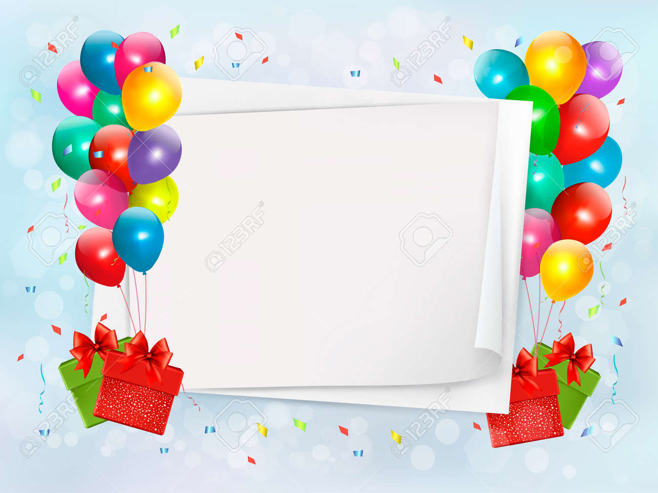 Holiday background with colorful balloons and gift boxes. Vector Stock Vector - 19551831
