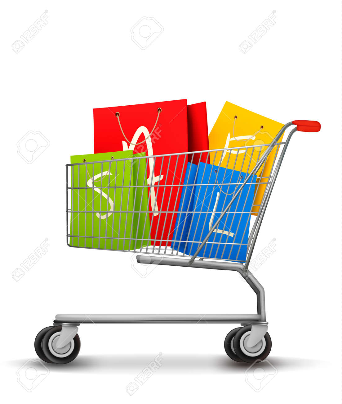 Shopping bags with sale in shopping cart. Concept of discount. Vector illustration. Stock Vector - 21264038